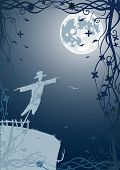 Illustration of scarecrow with moon and blue sky. Vector file in my portfolio poster
