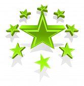 Illustration of green glossy stars poster