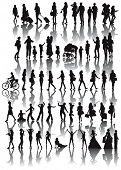 Over fifty black silhouettes of woman. Life situations from walking,travel, motherhood, marriage to dance. poster