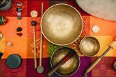 Tibetan singing bowl sound instrument color image toned inage poster