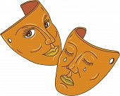 Mono line style illustration showing the two masks associated with drama representing the traditional generic division between comedy and tragedy using ancient Greek Muses Thalia was Muse of comedy (the laughing face) while Melpomene the Muse of tragedy poster