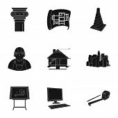 A set of icons on the theme of construction and architects. Builders, architects, and subjects for construction . Architect icon in set collection on black style vector symbol stock web illustration. poster