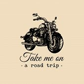 To travel is to live inspirational poster. Vector hand drawn motorcycle for MC sign, label concept. Vintage detailed bike illustration for custom company, chopper garage logo. poster