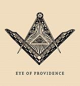 All-seeing eye of providence. Masonic square and compass symbols. Freemasonry pyramid engraving logo, emblem. Illuminati vector illustration. poster