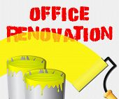 Office Renovation Paint Displays Company Upgrading 3d Illustration poster
