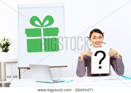 Young woman thinking about presents