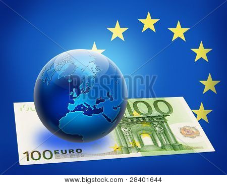 United Europe Flag And Globe Over 100 Euro