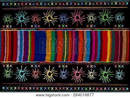 Mexican Ethnic Embroidery, Tribal Art Ethnic Pattern. Colorful Mexican Blanket Stripes Folk Abstract