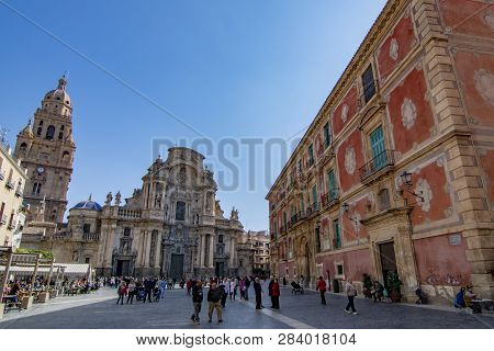 Murcia, Spain; February 2017: Main Facade Of The Cathedral Church Of Saint Mary In Murcia
