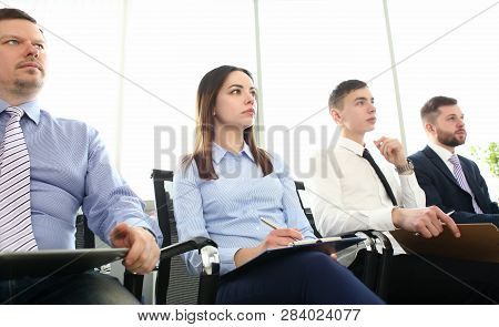 Group People Portrait Look At Board On Seminar With Training Class Business Workgroup Coaching Backg