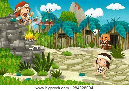 Cartoon Caveman Village Scene With Volcano In The Background - Stone Age - Illustration For Children