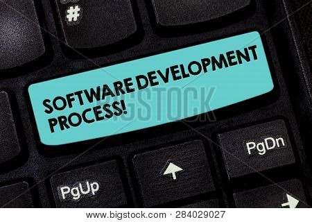 Text Sign Showing Software Development Process. Conceptual Photo Process Of Developing A Software Pr