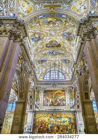 Bergamo, Italy - January 3, 2019. Ceiling Detail Of The Nave Of The Basilica Di Santa Maria Maggiore