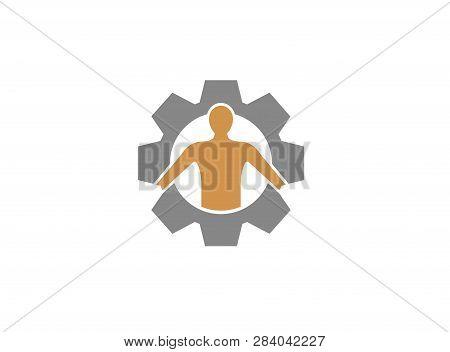 The Human Body Inside A Gear Pinion For Logo Design