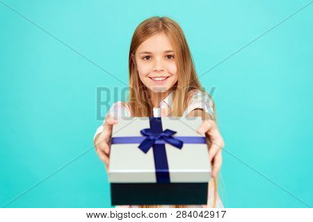 Pleasant Surprise. Girl Kid Hold Birthday Gift Box. Every Kid Dream About Such Surprise. Birthday Gi
