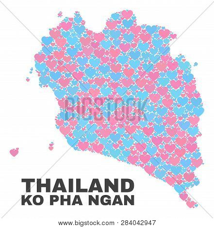 Mosaic Ko Pha Ngan Map Of Lovely Hearts In Pink And Blue Colors Isolated On A White Background. Love