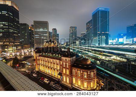Tokyo Station, Tokyo, Japan - December 26, 2018: Railway Train Station In Marunouchi Surround By Cit