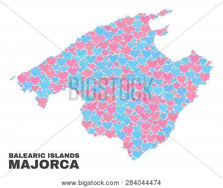 Mosaic Majorca Map Of Lovely Hearts In Pink And Blue Colors Isolated On A White Background. Lovely H