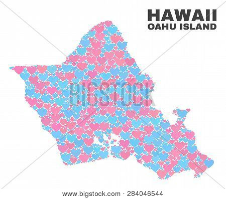 Mosaic Oahu Island Map Of Lovely Hearts In Pink And Blue Colors Isolated On A White Background. Love