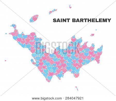 Mosaic Saint Barthelemy Map Of Lovely Hearts In Pink And Blue Colors Isolated On A White Background.