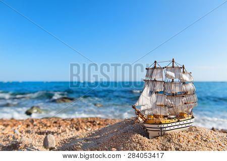 Old tall sail ship at the beach