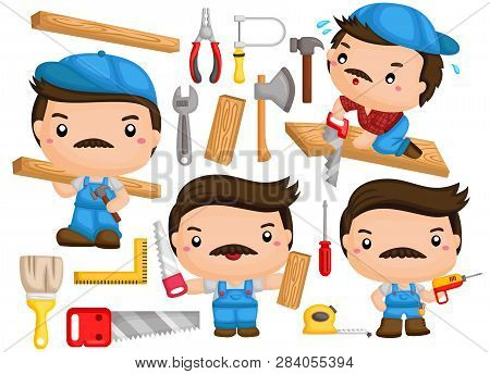 A Vector Of A Carpenter With Many Poses And Tools