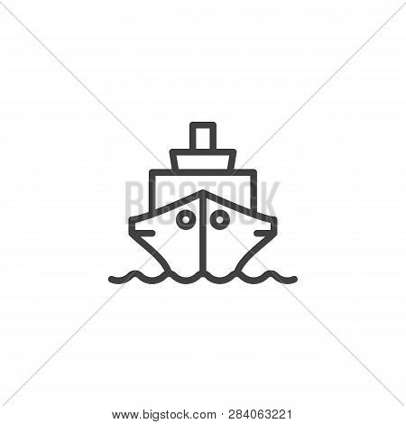Ship Boat Line Icon. Linear Style Sign For Mobile Concept And Web Design. Cruise Ship Outline Vector