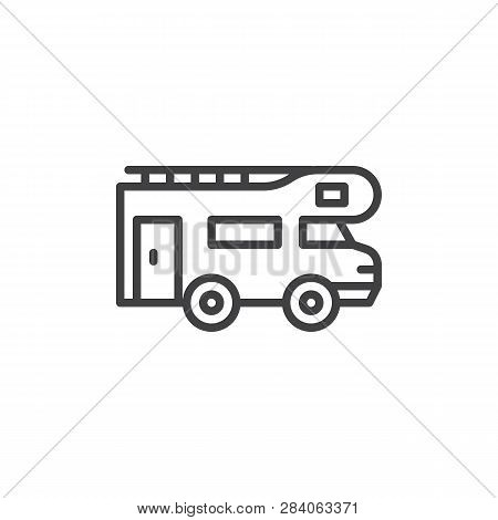 Caravan Trailer Line Icon. Linear Style Sign For Mobile Concept And Web Design. Camping Car, Camperv