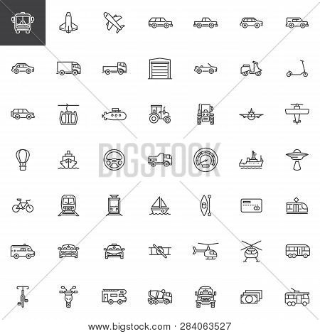 Transport And Transportation Line Icons Set. Linear Style Symbols Collection, Outline Signs Pack. Ve