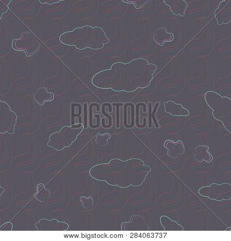 Vector Illustration Of Marble Clouds, Rainbow And Leaves Outlines. Seamless Pattern Texture Backgrou