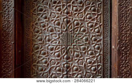Bronze-plate Door Ornaments At The Mosque Of Sultan Hassan Decorated With Floral And Geometric Patte