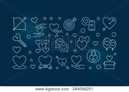Unconditional Love Vector Blue Outline Horizontal Illustration On Dark Background