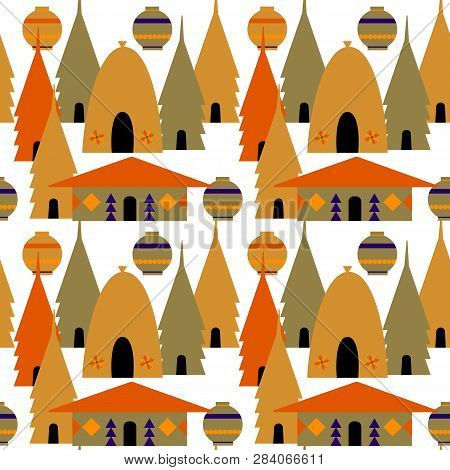 Seamless Flat Baclground. Huts In Africa. Vector Flat Illustration  Huts And.ethnic Architecture.eth