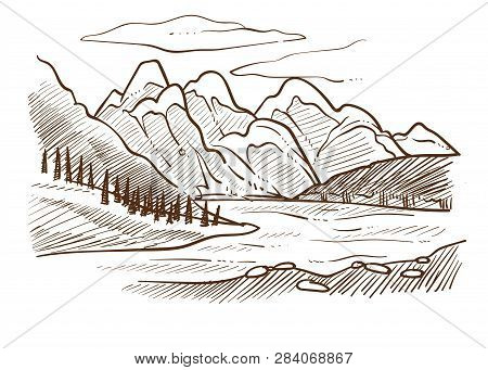 Valley Landscape Mountains And River Forest And Hills Sketch
