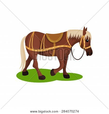 Cute Brown Horse With Blonde Mane And Tail. Hoofed Mammal Animal With Saddle On Back. Flat Vector De