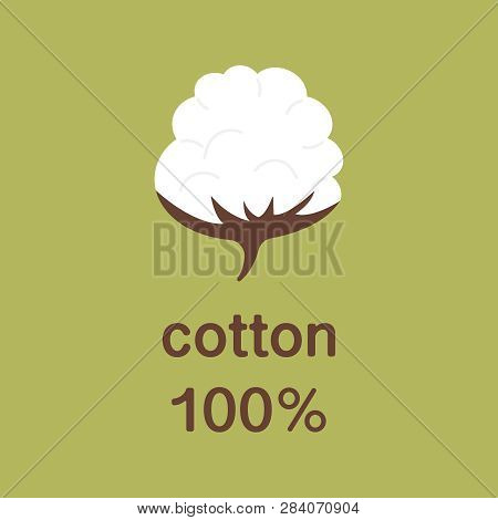 Natural Organic Cotton Vector Label, Sticker, Logo. Isolated Icon On Green Background. Cotton Labels
