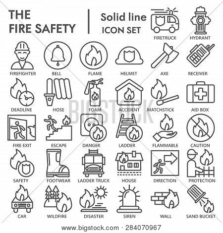 Fire Safety Line Icon Set, Emergency Symbols Collection, Vector Sketches, Logo Illustrations, Urgenc