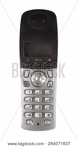Old Push Button Phone Isolated On White. Clipping Path Included.