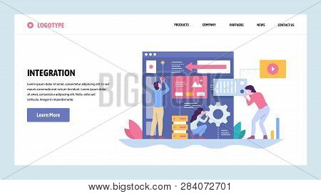 Vector Web Site Gradient Design Template. Software And Website Development. Team Building New App In