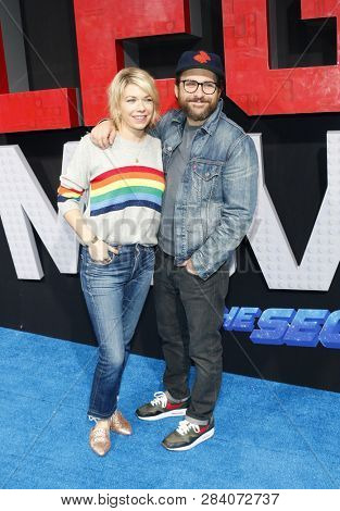 Mary Elizabeth Ellis and Charlie Day at the Los Angeles premiere of 'The Lego Movie 2: The Second Part' held at the Regency Village Theatre in Westwood, USA on February 2, 2019.