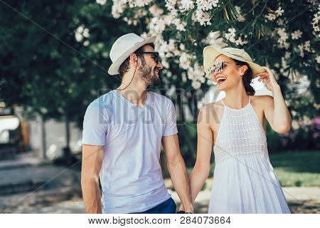 Couple In Love. Romantic Couple Enyojing In Moments Of Happiness In The City Park. Love And Tenderne