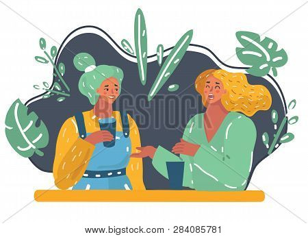 Vector Cartoon Illustration Of Two Women In A Trendy Night Club Sharing Gossip. Lifestyle Concept. F