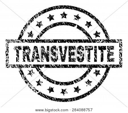 Transvestite Stamp Seal Watermark With Distress Style. Designed With Rectangle, Circles And Stars. B