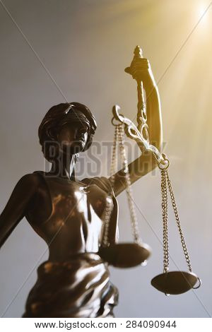 Lady Justice Or Justitia Blindfolded Figurine Holding Balance Scales - Law And Legal Symbol - With S
