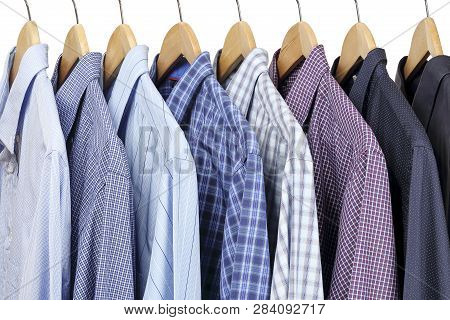 Collection Of Shirts On Hangers, Men S Fashion