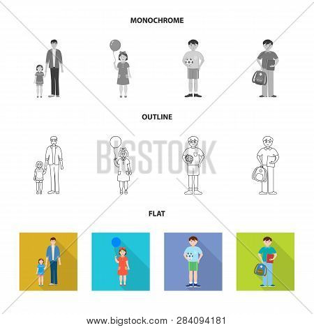 Vector Design Of Character And Avatar  Sign. Set Of Character And Portrait Vector Icon For Stock.