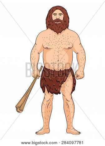 Neanderthal, Isolated Object On White Background. Vector