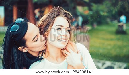Love And Desire. Lesbian Couple In Love. Lesbian Women With Sensual Look. Loving Couple Of Lesbian L