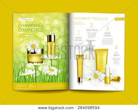 Vector Template For Glossy Cosmetic Magazine. Magazine Or Catalog Spread, Page With Natural Herbal C