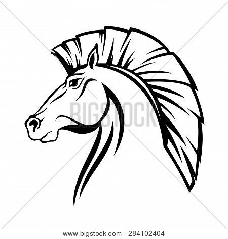 Horse Profile Head With Cut Mane - Black And White Vector Steed Design